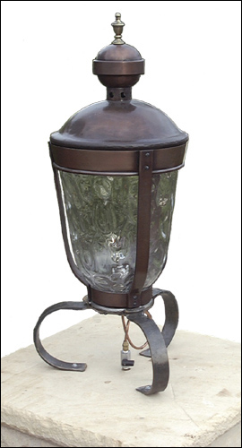 light fixture | copper and glass post lantern
