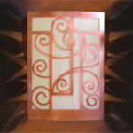 BOWS; copper and mica wall sconce