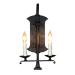 CCWS-4; wrought iron and faux candlestick wall fixture, lantern sconce