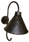 COLWS-2; wall sconce light fixture in blackend steel with decorative copper rivets