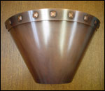 BAWS: cone shaped copper wall sconce with rivets