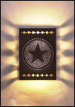 CTWS; hand punch negative star copper wall sconce light fixture