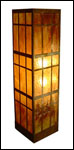 CWS-2; rectangular copper and amber mica wall sconce lighting fixture