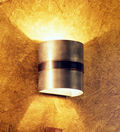 "BKWS-3; wall fixture light - wall sconce made in pewter with a ""Venetian"" oil rubbed bronze band"