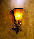 CMWS; copper 3D star and amber mica wall fixture, decorative lighting, wall sconcewall fixture, lighting, sconce