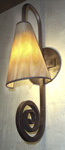 COLWS-1; glass cone and wrought iron curl wall sconce light fixture