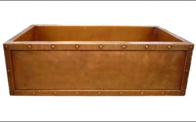 Custom Copper Rivet Border Apron Front Single Basin Farmhouse Sink