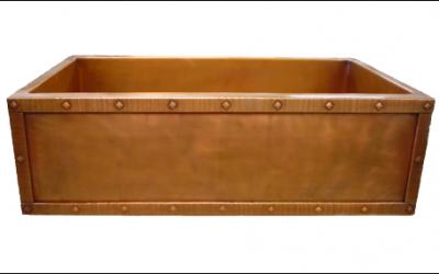 Custom Copper Rivet Border Apron Front Single Basin Farmhouse Sink