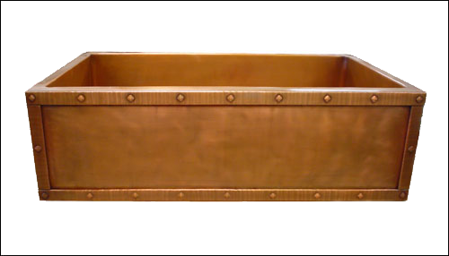 Copper Rivet Border Apron Front Single Basin Farmhouse Sink