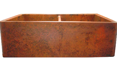 Custom Orange Verdigris Double Basin Farmhouse Sink