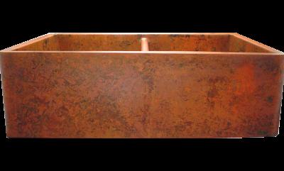 Custom Orange Verdigris Double Basin Farmhouse Sink