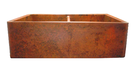 Orange Verdigris Double Basin Farmhouse Sink