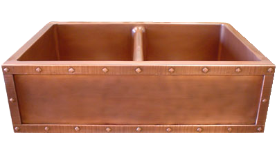 Double Basin Farmhouse Sink with Rivets