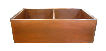 Copper Smooth Apron Double Basin Farmhouse Sink