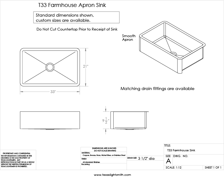 Standard Farm Sink Dimensions : Spec drawing for our apron sink in standard dimensions.