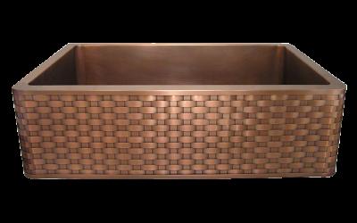 Basket Weave Apron Front Single Basin