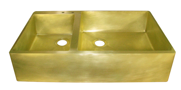 Brass Double Basin Smooth Apron Farmhouse Sink