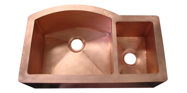 Copper Double Basin Smooth Apron Farmhouse Sink with curved wall