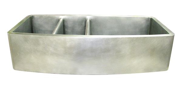 Nickel Silver Smooth Apron Triple Basin Farmhouse Sink