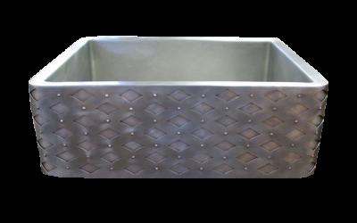 Diamond Rivet Apron Front Single Basin Nickel Silver Farmhouse Sink