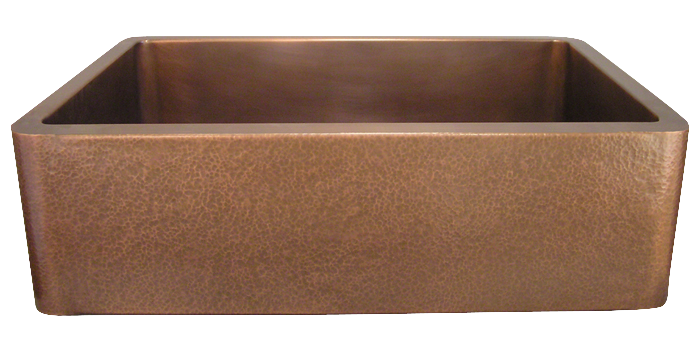 Copper Hammered Apron Single Basin Farmhouse Sink