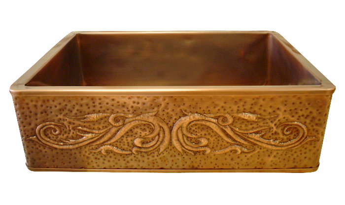 Copper Repoussé Hammered Apron Single Basin Farmhouse Sink