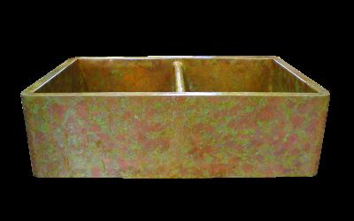 Verdigris Apron Double Basin Sink