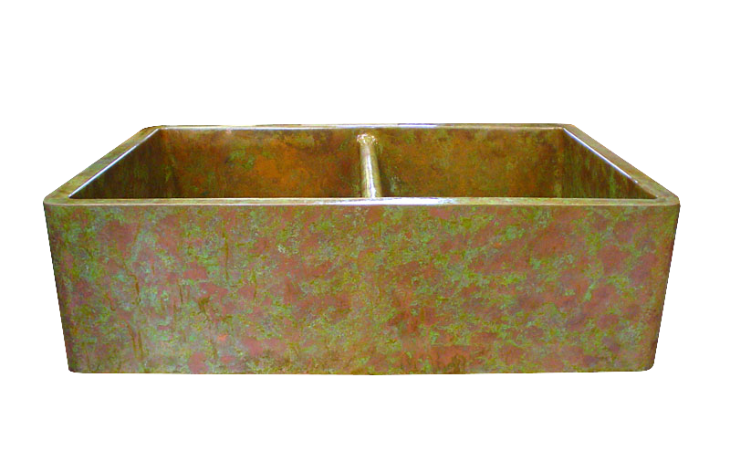 Copper Verdigris Apron Double Basin Farmhouse Sink