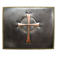 custom copper backsplash insert with celtic cross design and rawhide stiching around frame