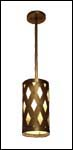 Ceiling mounted brass pendant fixture with diamond cut outs and decorative rivets and a natural mica diffuser.