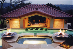 fire bowls by pool at Private Residence #3
