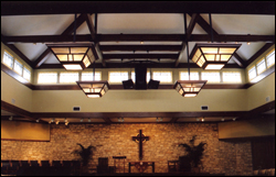 custom lighting for worship space at Shepherd of the Hills