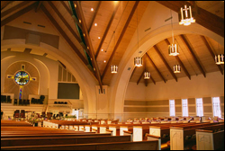 Lighting in worship space of First Baptist Church in Georgetown, Texas