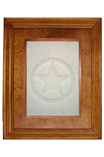 glass cabinet panel, white glass with texas star impression