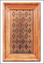 copper kitchen cabinet panel: diamond rivet pattern