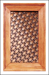 copper cabinet panel: lattice weave copper
