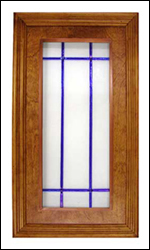 glass cabinet panel, white glass with blue crosses