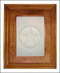 glass cabinet panel with Texas star impression