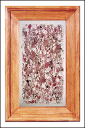glass cabinet panel, fused glass; faux pink granite