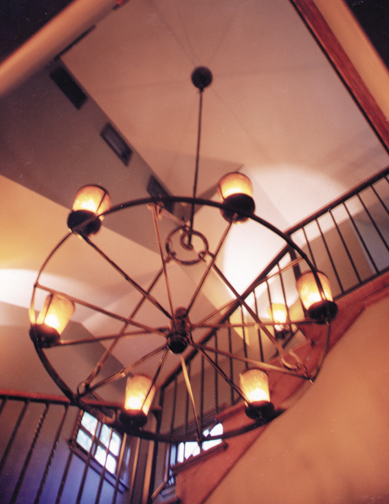 Description: Antique Custom Iron Wagon Wheel Chandelier; Assembled Copper  And Mica Light Pods; Wrought Iron Pendant And Hanger Assembly (specify  Pendant ...