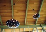 Custom pendant lighting fixture made of fused glass