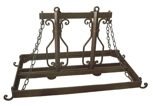 wrought iron kitchen island pot rack with decorative scroll work