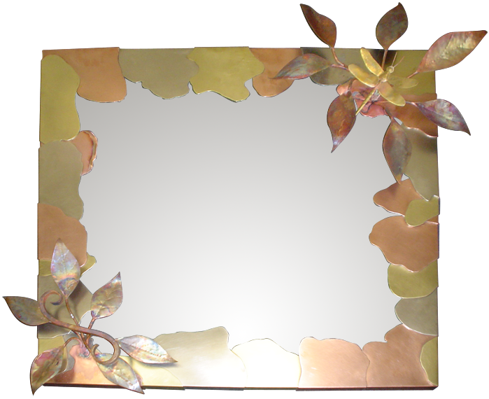 Dragonfly Mirror Frame in Copper, Brass, Bronze