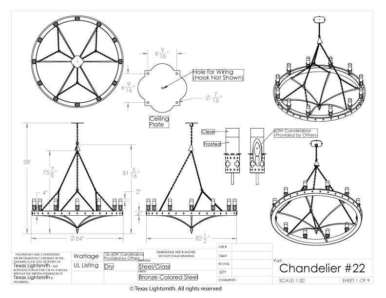Chandelier #22 - spec drawing