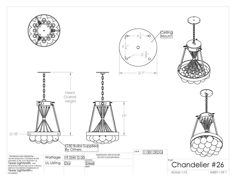 Chandelier #26 specification sheet