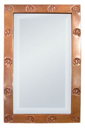 Copper-Frame Mirror with Ranch Brands
