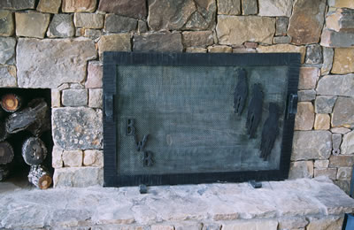 Fireplace Screen #3 shown sitting near fire place.
