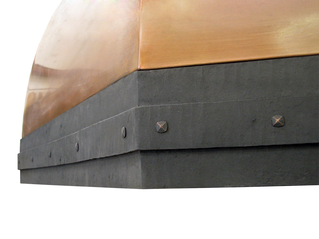 Range Hood 41A hammered forged steel border detail