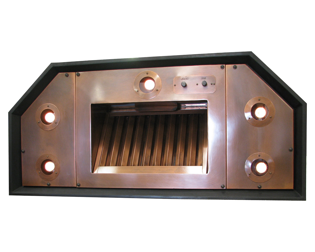 Range Hood 41A custom insert, with premier baffle filter in Medium Copper