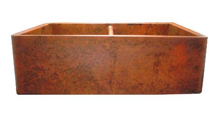 Orange Verdigris Double Basin Farmhouse Sink